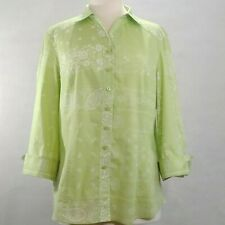 COLDWATER CREEK Lime Green Button Up White Paisley 3/4 Sleeve Tunic Top Size L