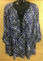 Avenue Womens Shirt Size 14/16 Purple Black Top Stretch Knit Roll Tab