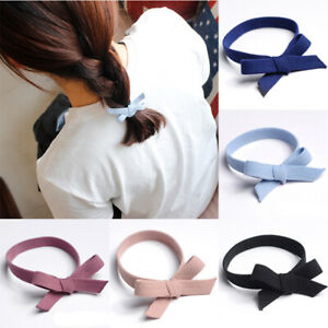 1Pc Solid Color Bow Knotted Hair Rubber Band Hair Ties High Elastic Hair Rope