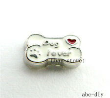 10pc Dog lover bone Floating charm fit  Glass living memory floating Locket 930