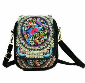 Retro ethnic one-shoulder phone bag embroidery mini canvas travel handbag