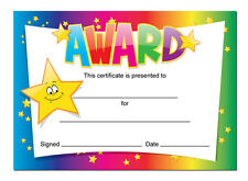 'Award' certificates - 16 x A6 cards, Schools,Teachers, kids, rainbow star theme