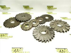 """LOT OF 8 HSS STAGGERED TOOTH MILLING CUTTERS 4"""" TO 6"""" DIA MOON BTRFLD NIAGARA"""