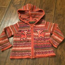 Oilily Zipper Cardigan Hoodie Sweater Long Sleeve Size 104 Deer Appliqué
