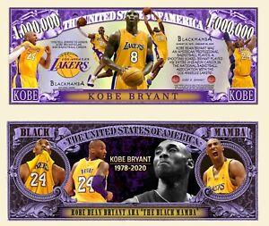 Kobe Bryant Million Dollar Bill Play Funny Money Novelty Note + FREE SLEEVE