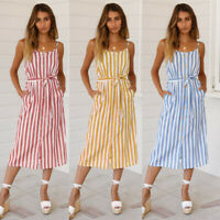 Fashion Women's Striped Pocket Belted Sleeveless Casual Summer Beach Midi Dress