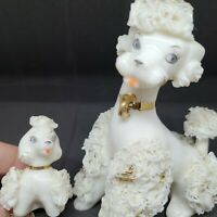 VINTAGE  WHITE SPAGHETTI POODLE AND PUPPY PORCELAIN MID CENTURY