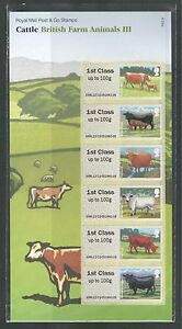 GREAT BRITAIN 2012, DOMESTIC ANIMALS: CATTLE III POST & GO, SHEET,  MNH