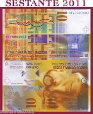 SWITZERLAND / SVIZZERA - 10 FRANKEN 2010 - P 67d  low number - FDS / UNC
