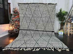 "Moroccan Handmade Zanafi Rug 6'4""x10'3"" Berber Black Geometric Wool Kilim Carpet"