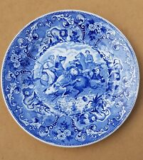 Vintage Lion Hunt Scene Plate Charger Delft Blue Societe Ceramique Maestricht