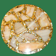 "12"" Marble Round Coffee Bedroom Table Top Abalone Inlay Stone Patio Decor H3498"