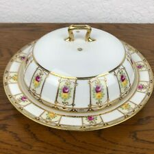 Nippon Hand Painted Porcelain Serving Dish With Cover Gold Gilded Beaded VTg