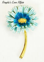 VINTAGE STYLE STEMMED ENAMEL BLUE FLOWER DAISY GERBERA BROOCH PIN EASTER WEDDING