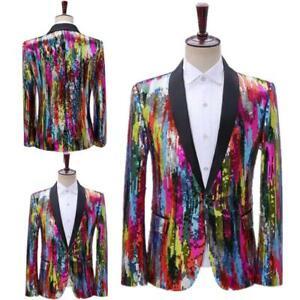 Stripes Sequined Dress Single Shirt Suit Dance Casual Colofrul Host Suit Coat
