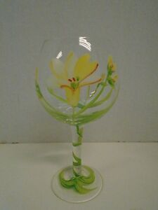 Floral Flowers  Green Yellow Red Wine Glass Hand Painted Vine Balloon