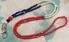 Patriotic Red White & Blue Glass Bead Badge ID Holder Necklace Chain Lanyard
