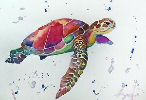 "Watercolor original painting 8""x11"" sea turtle art by Anne Gorywine"
