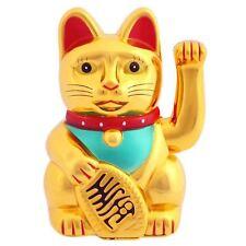 Gold Lucky Money Cat Maneki Neko 15cm High Beckoning Waving Wealth Prosperity