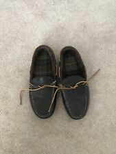 LL Bean Brown Leather Flannel Lining Deck Boat Moccasin Slippers Mens 9M