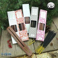 5 x boîtes de 60 encens joss bâtons 5 variétés set bois titulaire vanille baies