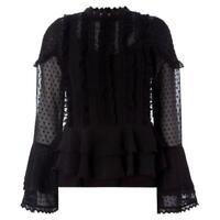 Biba Victoriana Black Frilly Blouse Emboidered Detail Long Sleeve UK 16 *REF42
