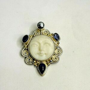 Vintage Sajen 925 Sterling Silver Purple Gemstone Moon Face Pendant Brooch