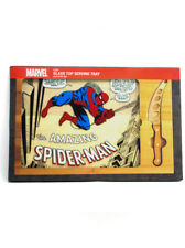 Picnic Time Amazing Spider-Man Glass Top Serving Tray & Knife Set Brand New