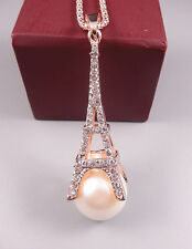 Gold Plated Clear White Rhinestone Eiffel Tower Disco Ball Pendant Chain Necklac