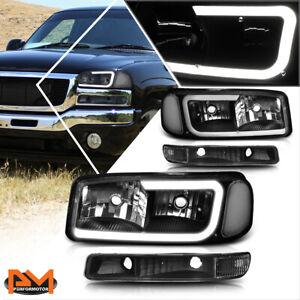 For 99-07 GMC Sierra/Yukon XL LED DRL Headlight w/ Bumper Lamp Black/Clear 4Pcs