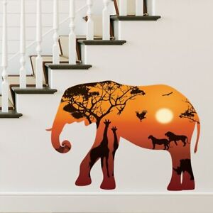 Wandtattoo Wandaufkleber Elefant in der Savanne Silhouette Afrika Giraffen