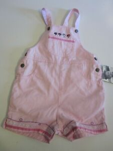 Carter's Vintage Baby Girl Bib Overall Shorts Size 12 18 Months Pink