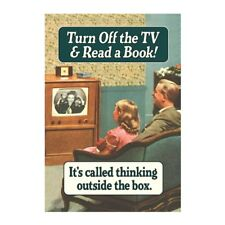 """Retro Humour """"Turn Off The TV & Read A Book!"""" Greetings Card Birthday Gift Funny"""