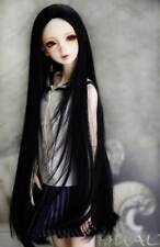 "1/3 8-9-10"" BJD Doll Pullip Wig Jet Black Straight Buckle Curl Tips Hair Long H2"
