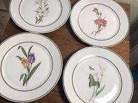 "4 Vintage JWK Bavaria China Luncheon/Dessert Plates Flowers 7.5"""