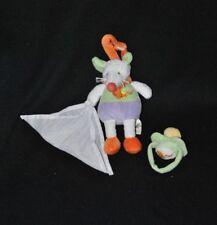 Peluche doudou souris BABY NAT' bonnet mouchoir blanc 16 cm + tétine TTBE