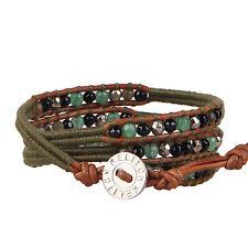 KELITCH Women MEN New Jewelry Jade Agate Charm 3 Wrap Bracelet Genuine Leather