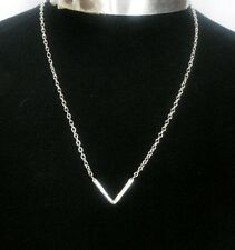 "A Silver Tone V Shape Letter Simple Minimalist Charm Pendant 20"" Chain Necklace"