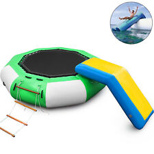 10Ft Inflatable Water Trampoline with Bouncer Slide Floating w/Ladder Lake
