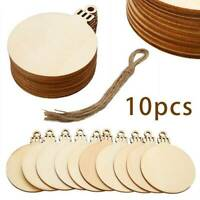 10x Wooden Round Christmas Bauble Ball Shapes Craft Hanging Decoration Blanks