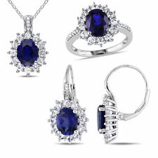 Amour Sterling Silver Diamond, Created Blue and Created White Sapphire 3- Pc set