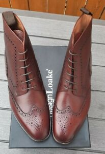 Loake George Brown Leather Brogue Boots - Brand New In Box - Size 10