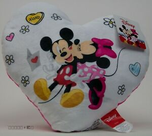 Valentine's Day Disney Mickey & Minnie Mouse Heart with them Kissing Pillow NWT