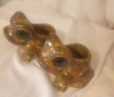 STUDIO POTTERY, PAIR (2) OF BROWN, SMALL EARTHENWARE TOAD SHAPED PLANTERS, 1980'