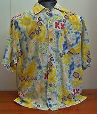 Tommy Bahama Mens Boys Yellow Red Blue Hawaiian Rayon Short Sleeve Shirt L