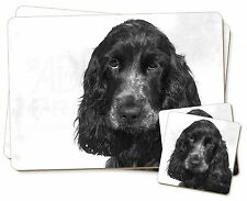 Blue Roan Cocker Spaniels Twin 2x Placemats+2x Coasters Set in Gift B, AD-SC25PC