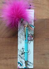 "Betsey Johnson Parrot / Bird Ink Pen Fuchsia Head Feathers ""Jeweled"" Tail New"