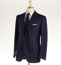 NWT $6400 CESARE ATTOLINI Navy Chalk Stripe Flannel Wool Suit 40 R (Eu 50)