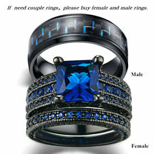 Couple Wedding Rings Blue Sapphire Womens Ring Set & Titanium Steel Mens Bands