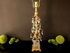 ITALIAN GOLD GILT TOLE LAMP WITH CRYSTALS TOLE LAMP HOLLYWOOD REGENCY